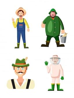 Conjunto de caracteres do agricultor. conjunto de desenhos animados de agricultor
