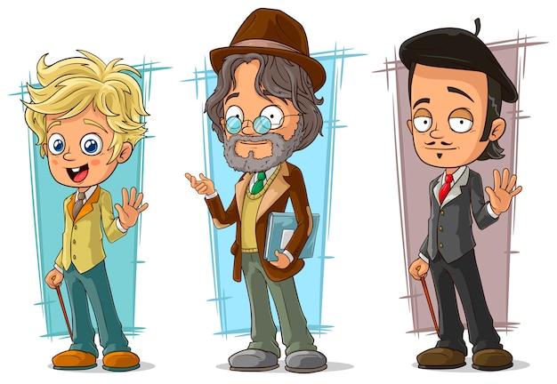 Conjunto de caracteres do artista inteligente dos desenhos animados