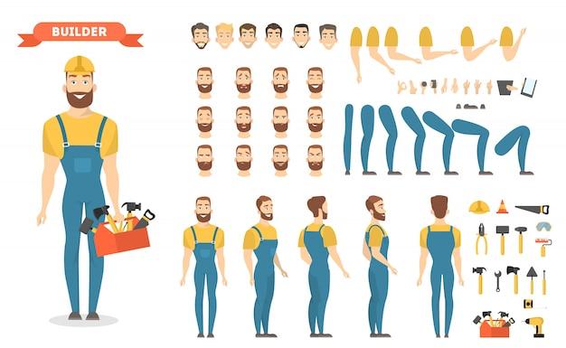 Conjunto de caracteres do construtor masculino. poses e emoções.