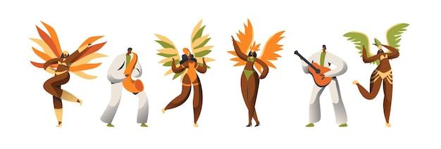 Conjunto de caracteres do dançarino de carnaval brasileiro.