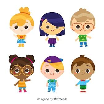 Conjunto de caracteres do dia das crianças