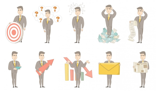 Conjunto de caracteres do empresário caucasiano