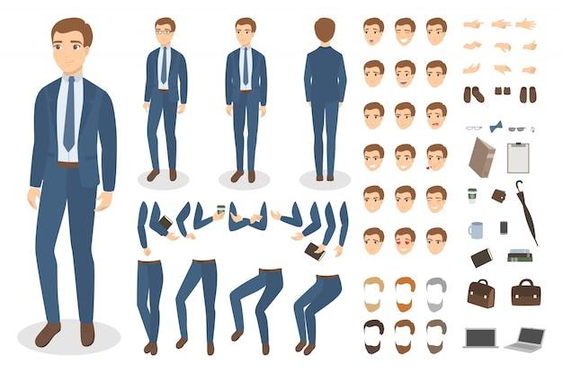 Conjunto de caracteres do empresário com poses e emoções.