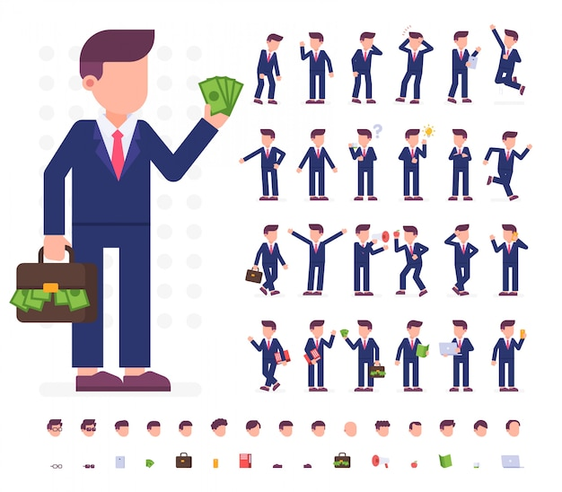 Conjunto de caracteres do empresário em poses diferentes