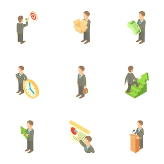 Conjunto de caracteres do empresário, estilo cartoon