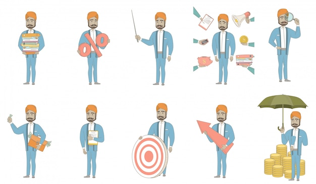 Conjunto de caracteres do empresário indiano