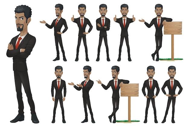 Conjunto de caracteres do empresário preto