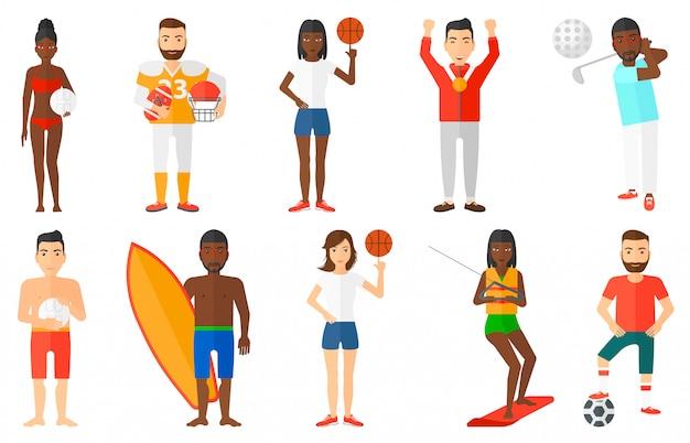 Conjunto de caracteres do esporte.