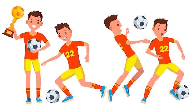 Conjunto de caracteres do futebol masculino jogador