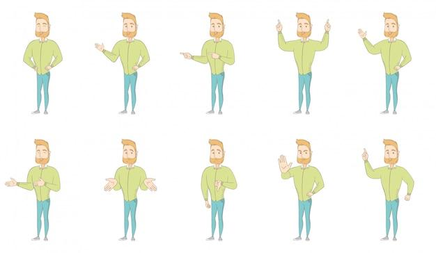 Conjunto de caracteres do hippie homem caucasiano