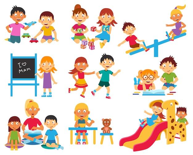 Conjunto de caracteres do jardim de infância