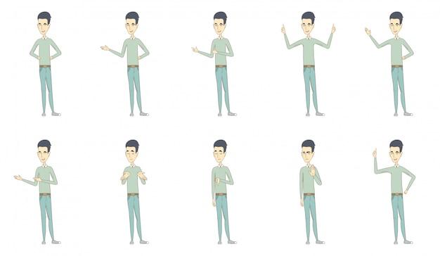 Conjunto de caracteres do jovem asiático