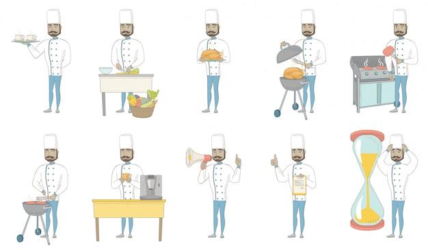 Conjunto de caracteres do jovem chef hindu