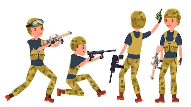 Conjunto de caracteres do jovem soldado soldado homem