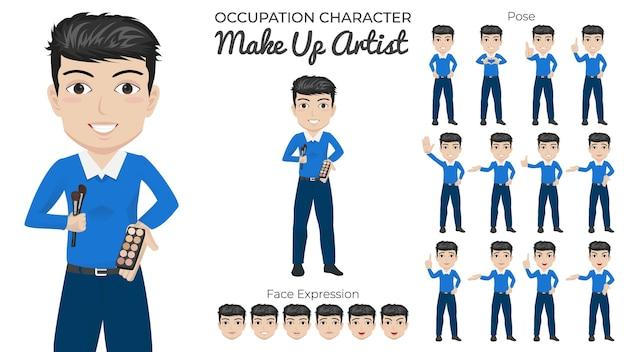 Conjunto de caracteres do maquiador masculino com variedade de expressões faciais e de pose