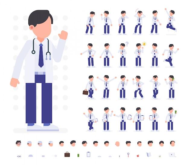 Conjunto de caracteres do médico em poses diferentes.