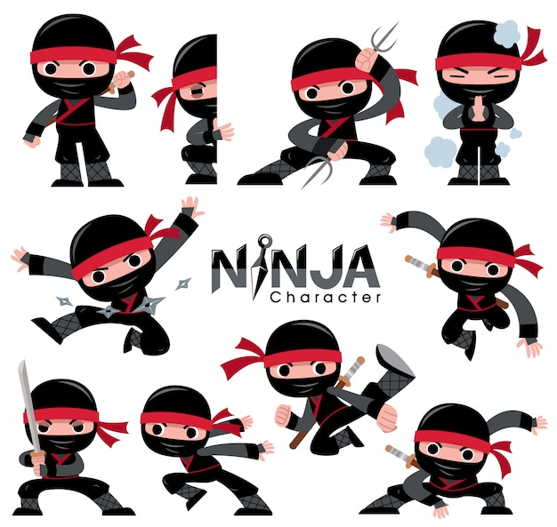 Conjunto de caracteres do ninja dos desenhos animados. poses de luta