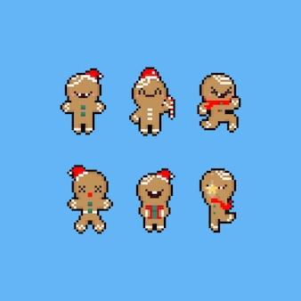 Conjunto de caracteres do pixel art dos desenhos animados pão de gengibre.