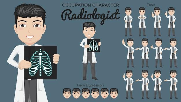 Conjunto de caracteres do radiologista masculino com variedade de expressões faciais e posturas