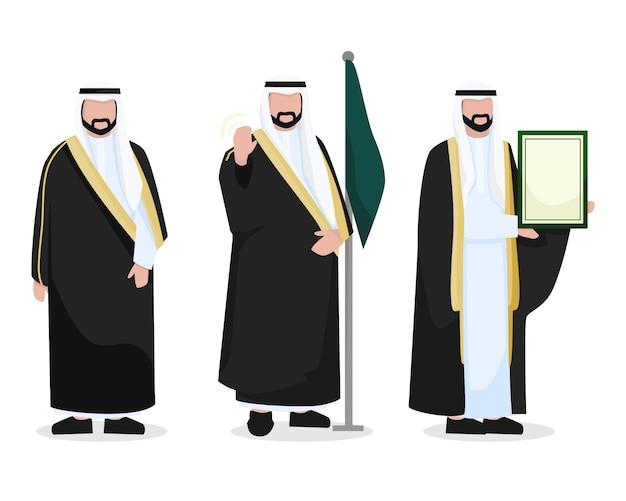 Conjunto de caracteres do rei saudita árabe