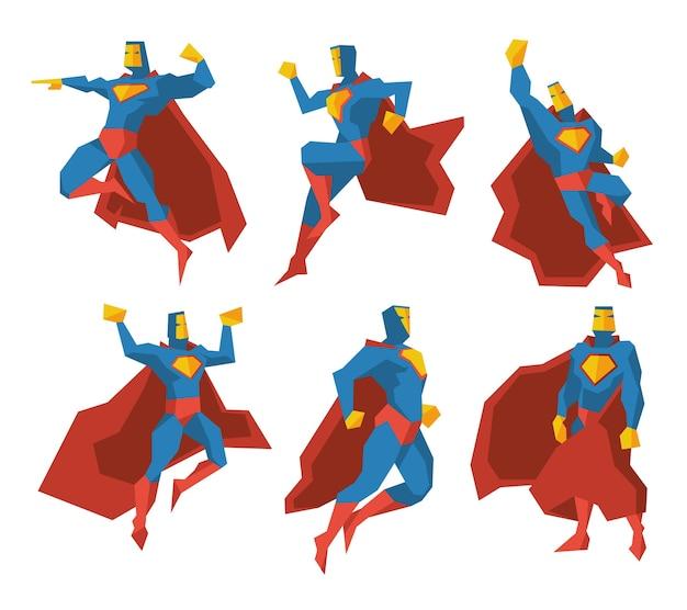 Conjunto de caracteres do vetor de silhuetas de super-heróis. ilustração poligonal multifacetada do homem superpotência, força