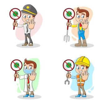 Conjunto de caracteres do vírus stop corona