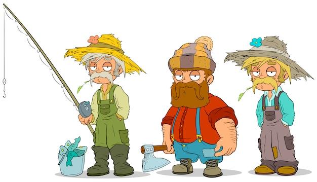 Conjunto de caracteres dos desenhos animados pescador agricultor lenhador