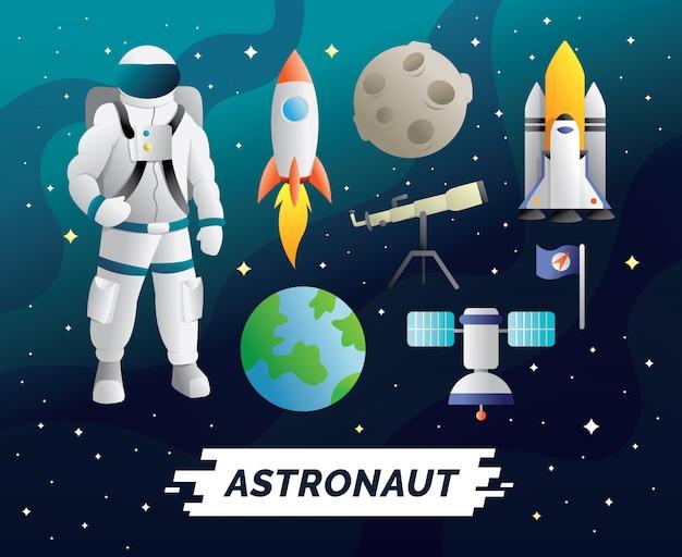 Conjunto de caracteres e elementos de astronauta