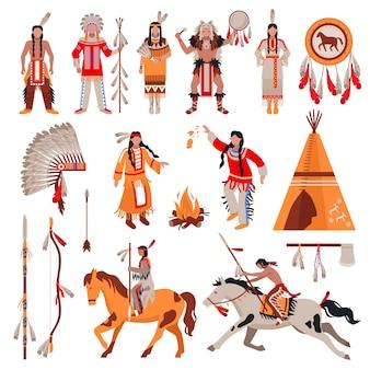 Conjunto de caracteres e elementos de índios americanos