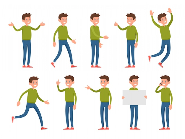 Conjunto de caracteres em diferentes poses e gestos.