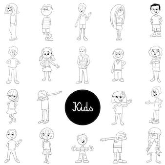 Conjunto de caracteres em quadrinhos crianças preto e branco