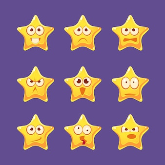 Conjunto de caracteres emoji estrela dourada