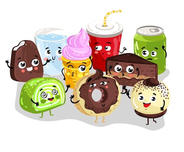 Conjunto de caracteres engraçado comida e bebida doce