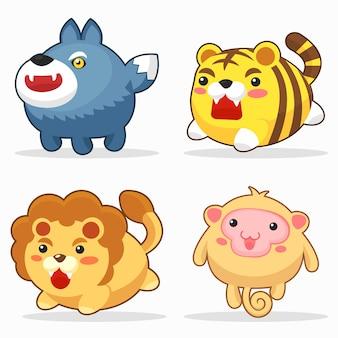 Conjunto de caracteres engraçado dos desenhos animados de animais fofos