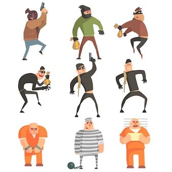Conjunto de caracteres engraçados de criminosos e condenados