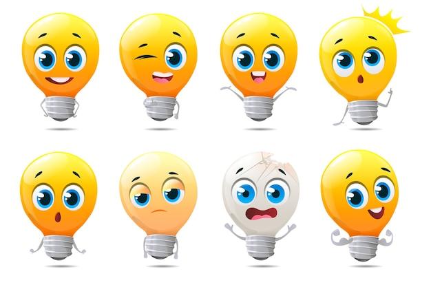 Conjunto de caracteres engraçados de lâmpadas em fundo branco