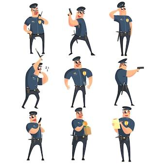 Conjunto de caracteres engraçados de policial americano
