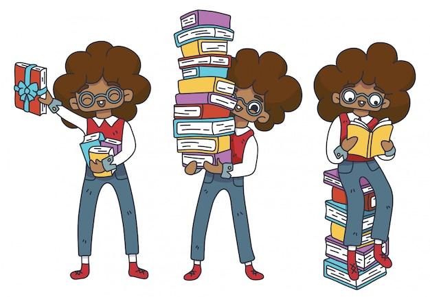 Conjunto de caracteres fã literário. menino nerd africano em copos com uma pilha de livros. biblioteca em casa, educação. livro em uma fita de presente. dia internacional do livro infantil. dia do aluno. isolado.