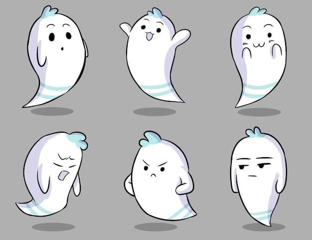 Conjunto de caracteres fantasma branco fofo