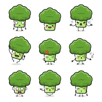 Conjunto de caracteres fofos de brócolis em emoção de ação diferente