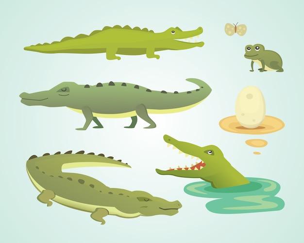 Conjunto de caracteres fofos de crocodilo. ilustração do desenho do aligator
