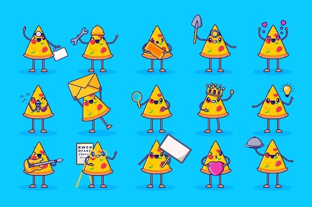 Conjunto de caracteres fofos de fatia de pizza