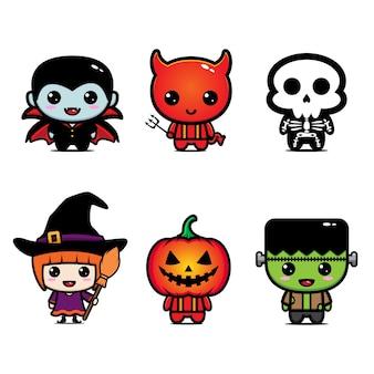 Conjunto de caracteres fofos de halloween
