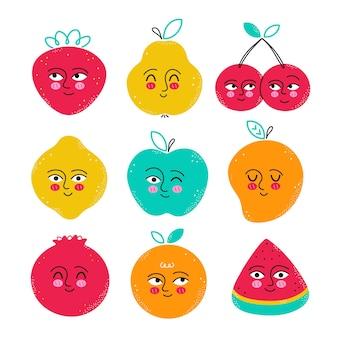 Conjunto de caracteres fofos e engraçados de frutas