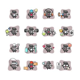 Conjunto de caracteres fofos e kawaii de bilhar 8 bolas
