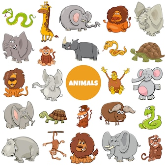 Conjunto de caracteres grandes animais selvagens africanos