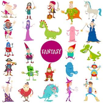 Conjunto de caracteres grandes de fantasia dos desenhos animados