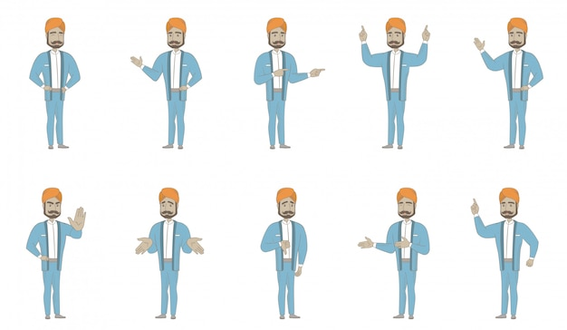 Conjunto de caracteres homem indiano