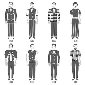 Conjunto de caracteres homens moda preto branco evolução