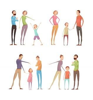 Conjunto de caracteres isolados adultos e crianças doodle plana
